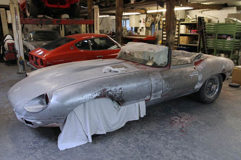 Jaguar E-Type bare metal respray